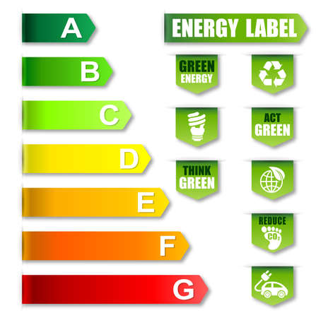 classification: Energy Label and Environment friendly Label Stock Photo