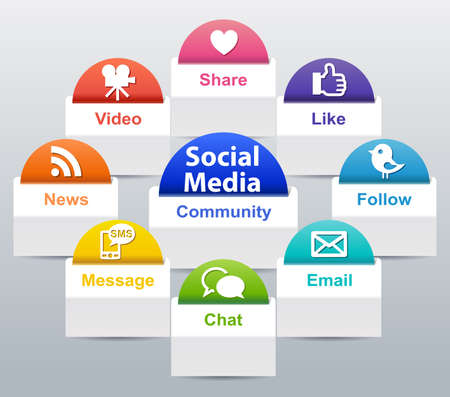 Social Media Label Stock Photo - 26062772