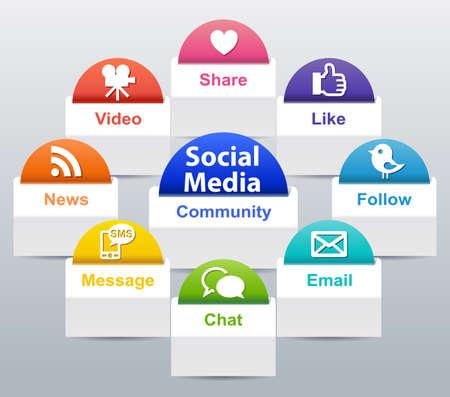 Social Media Label Stock Photo - 26062772