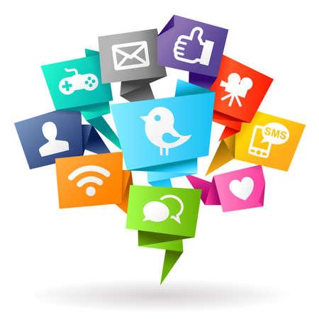 Les médias sociaux Origami Banque d'images - 27585910