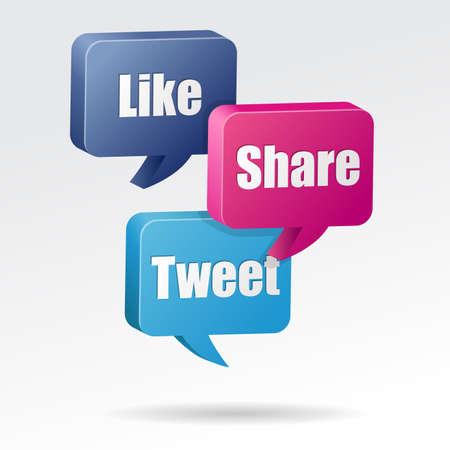 tweet: Like Tweet Share Speech Bubble Stock Photo