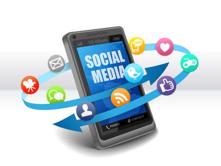 Les médias sociaux sur téléphone mobile Banque d'images - 39384795