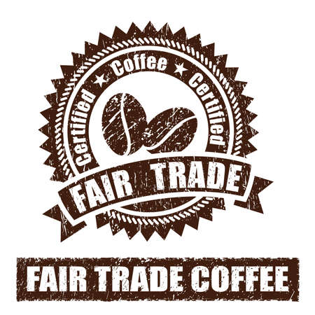 Fair Trade Coffee Rubber Stamp Stock Photo