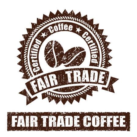 comercio: Sello de Comercio Justo Café de goma Foto de archivo