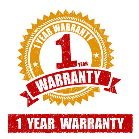 1 Year Warranty Rubber Stamp 免版税图像