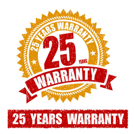 25: 25 Years Warranty Rubber Stamp Stock Photo