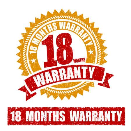 18 Months Warranty Rubber Stamp