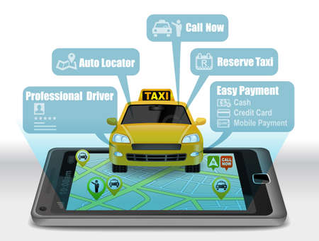 Taxi Service Apps on smartphone