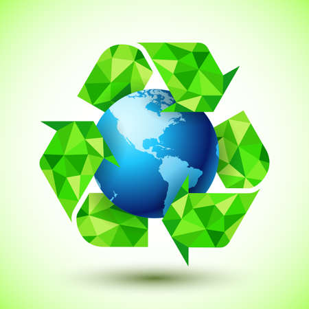 global environment: Recycling Symbol with Blue Globe Stock Photo
