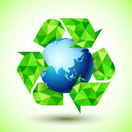 reusable: Recycling Symbol with Blue Globe Stock Photo