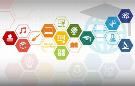 Online Onderwijs Achtergrond Stockfoto