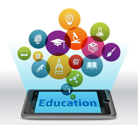 continuing education: Online Education on smartphone Stock Photo