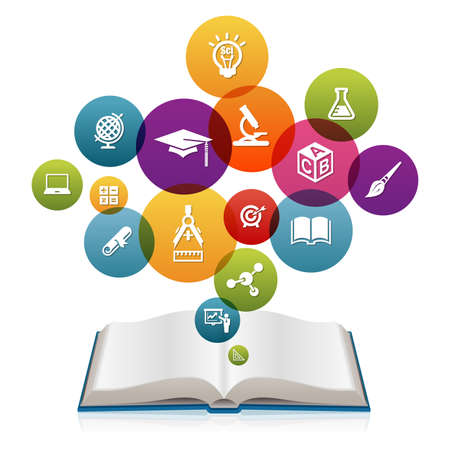 higher learning: Open book with Education icons Stock Photo
