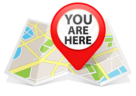 Red Map pointer Location Destination on map Stock Photo