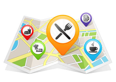 destinations: Restaurant and Cafe Bar Map pointer Location Destination on map Stock Photo