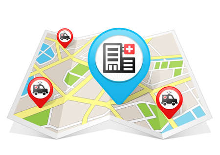 Hospital Map pointer Location Destination on map Banque d'images