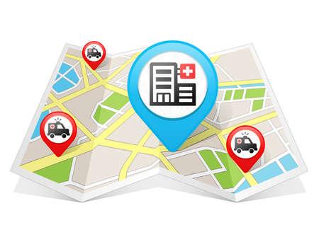 Hospital Map pointer Location Destination on map Standard-Bild