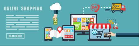Online Shopping E-commerce Flat Design Concept Banner Background
