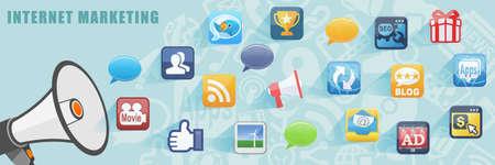 Internet Online Marketing Flat Design Concept Achtergrond van de Banner Stockfoto - 43834602