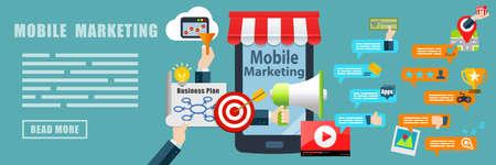 Mobile Marketing Flat Design Concept Banner Background 写真素材