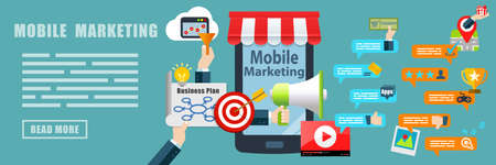 contest: Mobile Marketing Flat Design Concept Banner Background Stock Photo