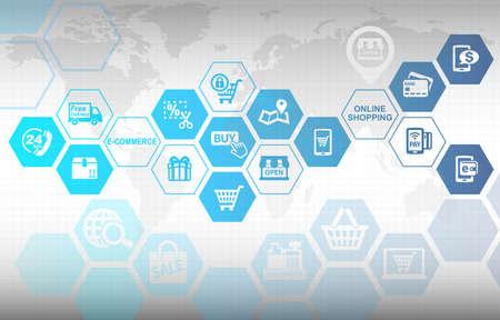온라인 쇼핑 전자 상거래 개념 배경 스톡 콘텐츠