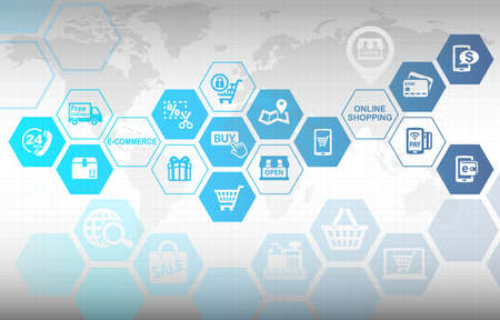 Online winkelen E-commerce concept achtergrond