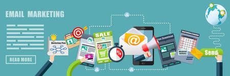 E メール マーケティング、広告戦略コンセプト バナー背景