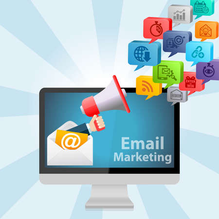 sweepstake: Email Marketing Advertising Strategy Concept Background Stock Photo