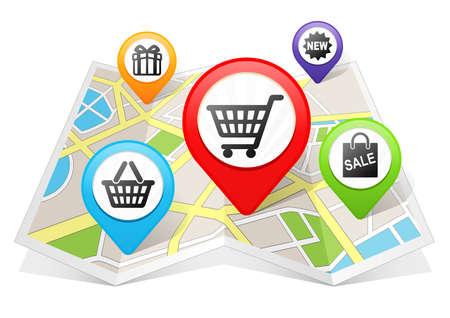marker: Compras Mapa puntero ubicación de destino en el mapa