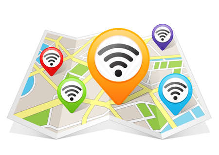 wireless connection: Wifi Network Wireless Internet Connection Map pointer Location Destination on map