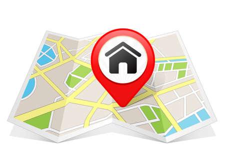 Startseite Haus Immobilien-Symbol-Karte Zeiger Standort Reiseziel auf der Karte