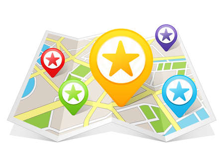 places of interest: Star Rating My Favorite Map pointer Location Destination on map