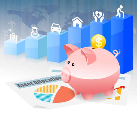 health care funding: Piggybank Savings Investment Planning for Future Goal Stock Photo