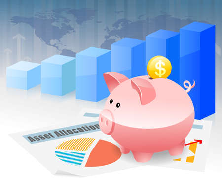 global retirement: Piggybank Savings Global Investment Planning for Future Stock Photo
