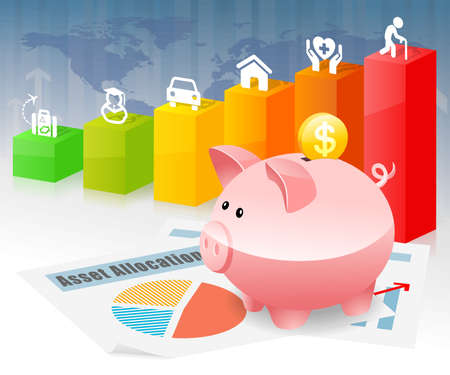 investment: Piggybank Savings Investment Planning for Future Goal Stock Photo