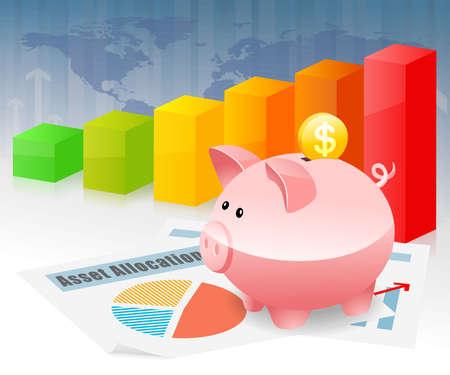global savings: Piggybank Savings Global Investment Planning for Future Stock Photo