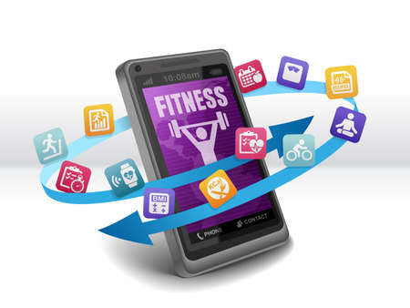 health and fitness: Health and Fitness Apps on Smartphone Stock Photo