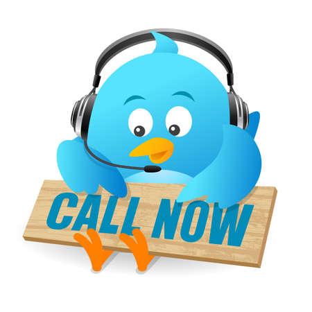twitter: Blue Bird Call Now Sign