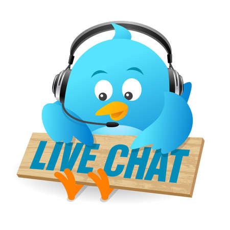 tweet: Blue Bird Live Chat Sign Stock Photo