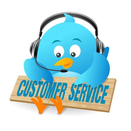 twitter: Blue Bird Customer Service Sign Stock Photo