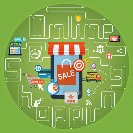 Online Business: Online Shopping Marketing Advertising Concept Background Stock Photo
