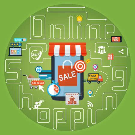 log basket: Online Shopping Marketing Advertising Concept Background Stock Photo