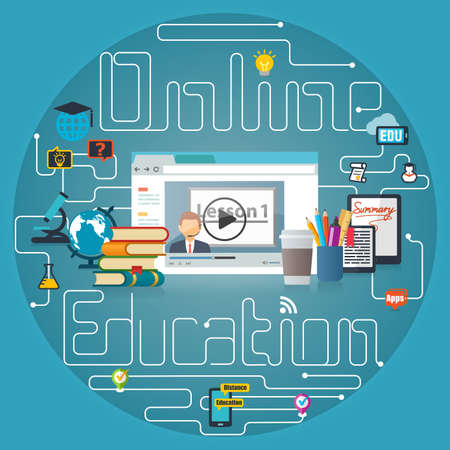 distance: Online Education Webinar Training Concept Background