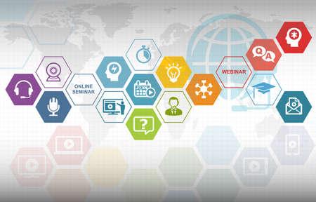 さまざまなアイコンとウェビナー トレーニングのオンライン教育の背景 写真素材
