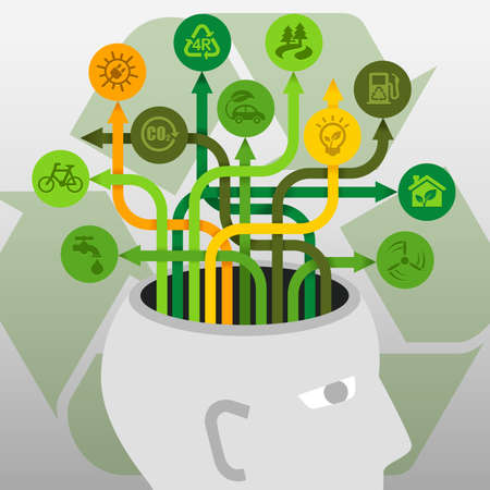 environment protection: Brainstorm Ecology Environment Protection Recycle Ideas Concept