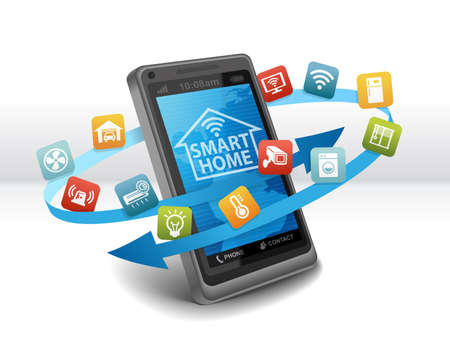 Smart Home Automation Control Apps on Smartphone Stock Photo