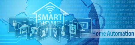 Smart Home Automation Concept Bandera con varios iconos Foto de archivo - 61333877