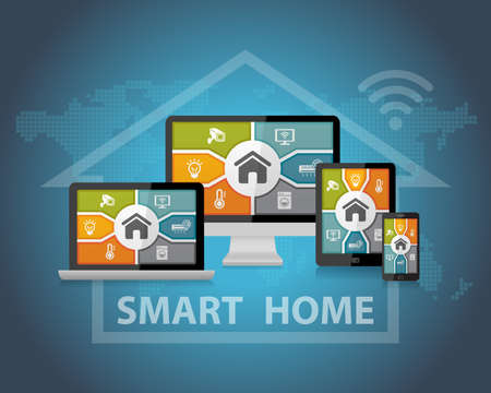 wifi: Smart Home Automation Control Apps Responsive Web Design Concept