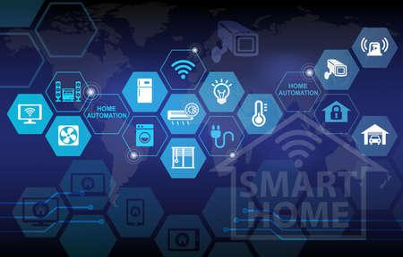スマート ホーム オートメーションのリモート コントロールの背景 写真素材